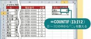 図9 「 COUNTIF」を使えば、条件に合ったデータを数えられる。ここでは、会費を支払ったことを示す「○」を数え、L3 セルに人数を表示する。
