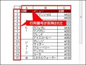 表に行番号と列番号が追加された
