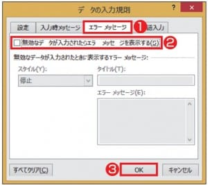 図10 「エラーメッセージ」タブで、「無効なデータが入力されたらエラーメッセージを表示する」のチェックを外すと、「設定」タブで指定したデータ以外もそのまま入力できる。チェックを付けると、エラーメッセージの「スタイル」として「停止」「注意」「情報」を選択できる。「注意」「情報」だとメッセージは表示されるが、入力は可能だ。