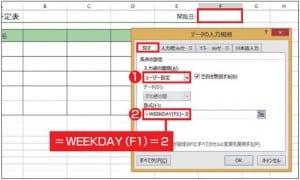 図12 「週間予定表」の「開始日」のセルには、月曜日の日付しか入力できないようにする。「データの入力規則」画面の「設定」タブで、「入力値の種類」欄で「ユーザー設定」を選び、「数式」欄に「=WEEKDAY(F1)=2」と入力する。