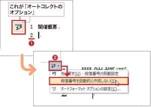 図1 「1」で始まる行で改行すると、次行で「2」と自動入力される場合がある(1)。すぐに解除したい場合は「オートコレクトのオプション」をクリックし、「~自動的に作成しない」をクリックする(2)。